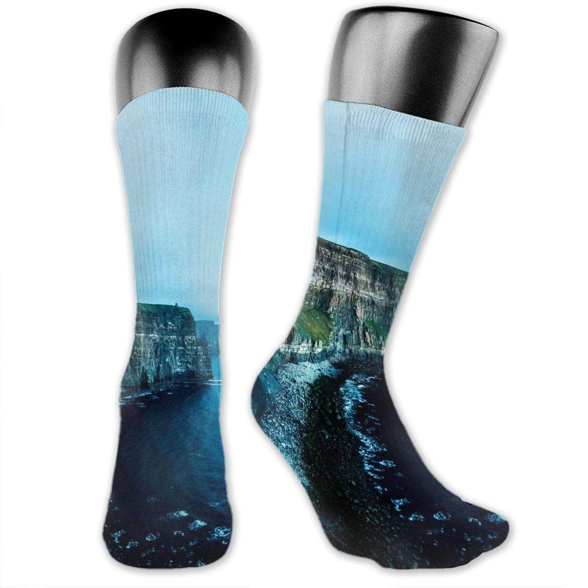 OLGCZM Seaside Blue Cliff Rocks Men Womens Thin High Ankle Casual Socks Fit Outdoor Hiking Trail