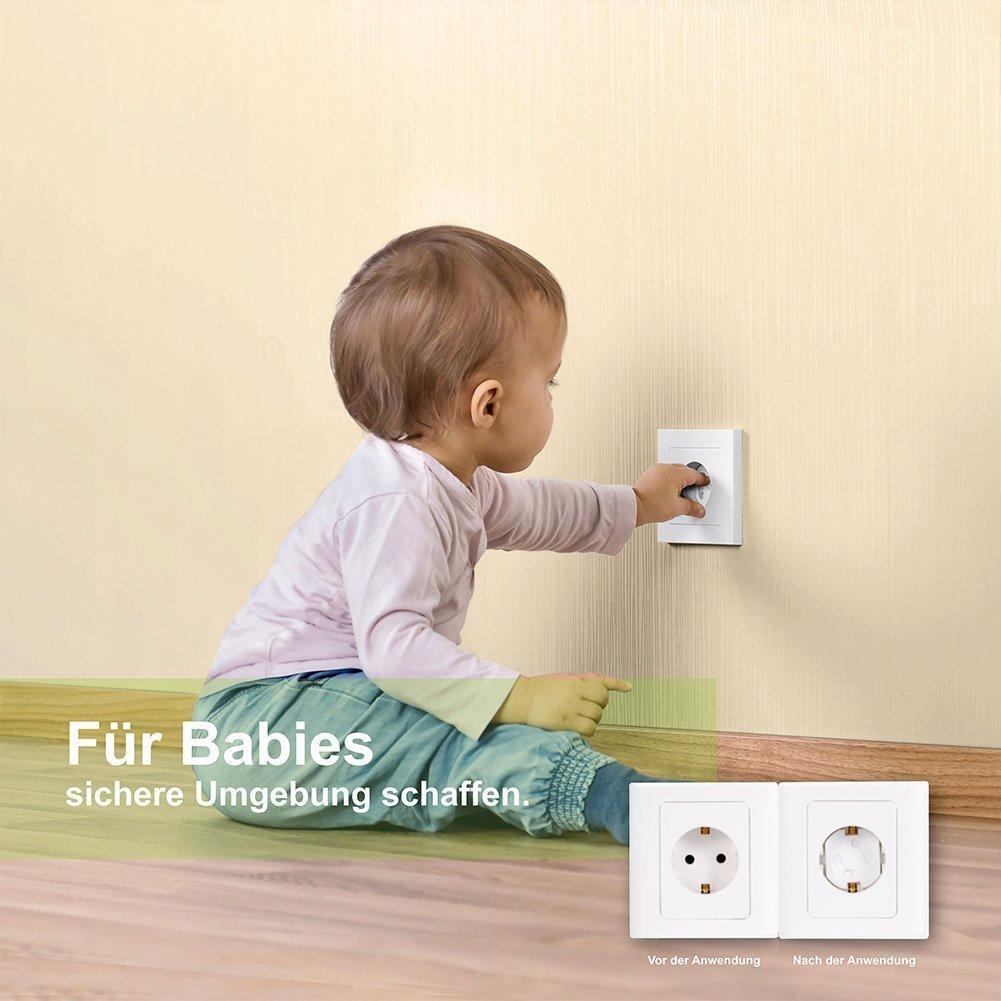 Steckdosenschutz Steckdosensicherung Baby Kleinkinder Kindersicherheit Perfectii Kindersicherung f/ür Steckdose mit Drehmechanik