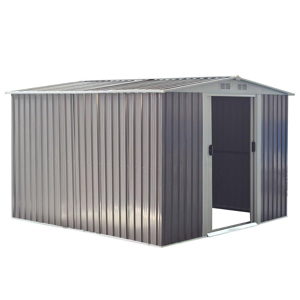 Goplus Galvanized Steel Outdoor Garden Storage Shed 8.5 x 8.5 Ft Heavy Duty Tool House W/ Sliding Door (Gray)