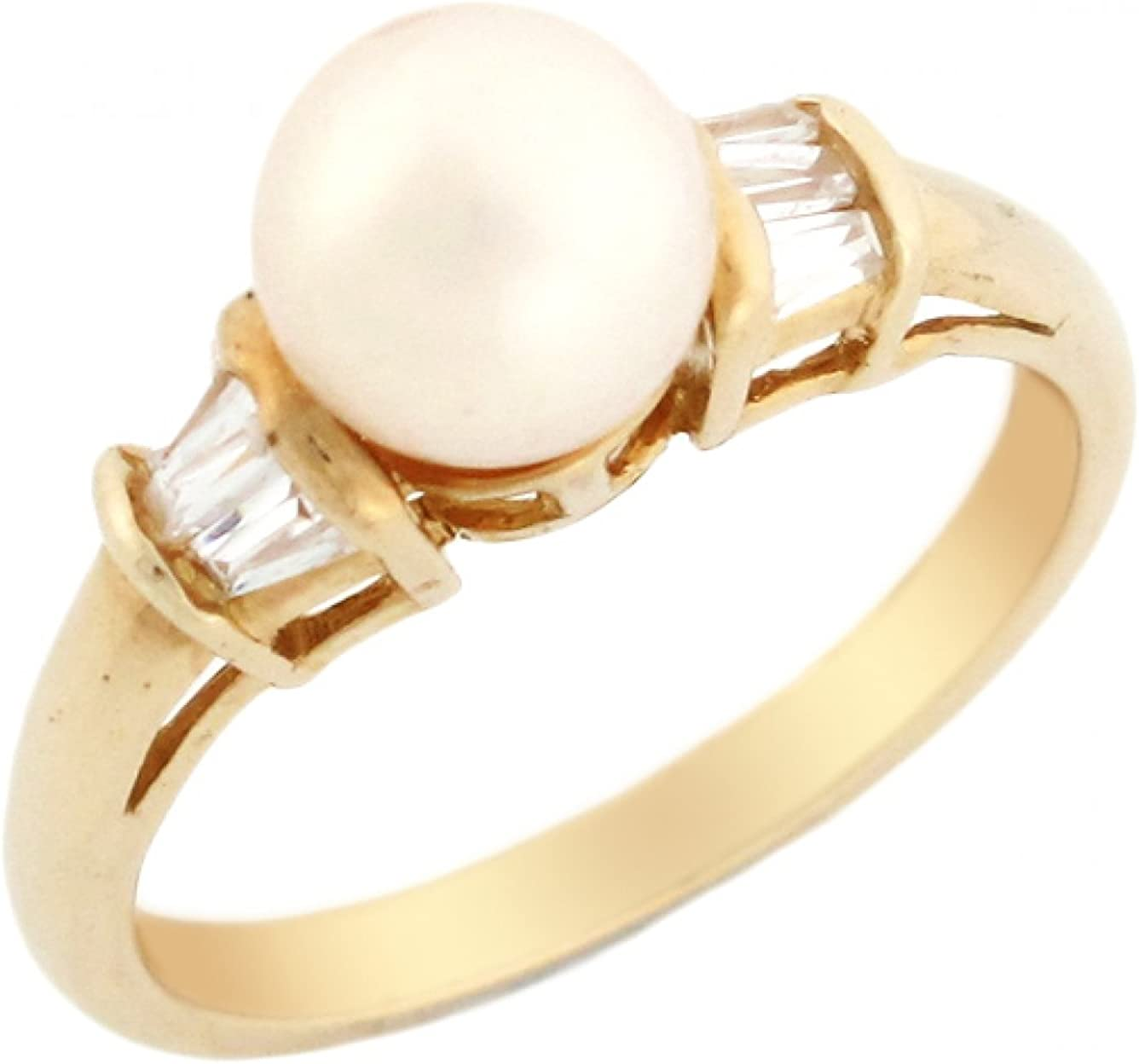 10k or 14k Yellow Gold Freshwater Cultured Pearl Ladies Solitaire Ring Jewelry