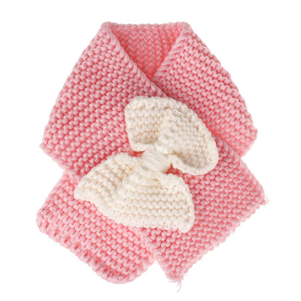 Covermason Autumn Winter Warm Kids Girls Collar Scarf Crochet Bowknot O Ring Neck Scarves Neckerchief for Christmas Thanksgiving New Year Gift for Child 1-6 years old (Pink) cover mason