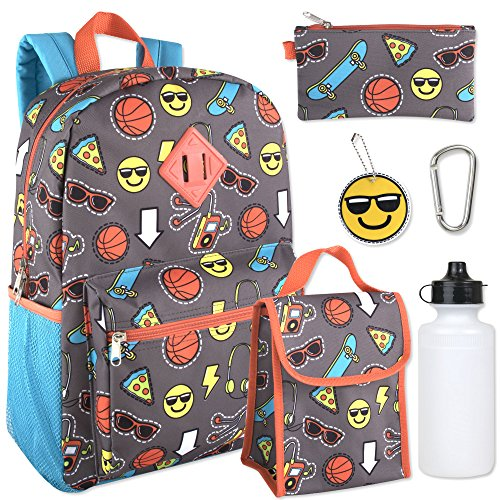 Boy's 6 in 1 Backpack Set Including A Backpack, Lunch Bag, Pencil Case, Water Botle, Keychain, And Clip (Emoji) -