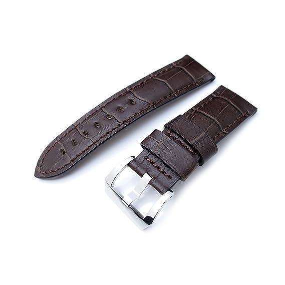24 mm CrocoCalf mate marrón Correa para Reloj y marrón con puntadas por centímetro, pulido hebilla de tornillo-in: Amazon.es: Relojes