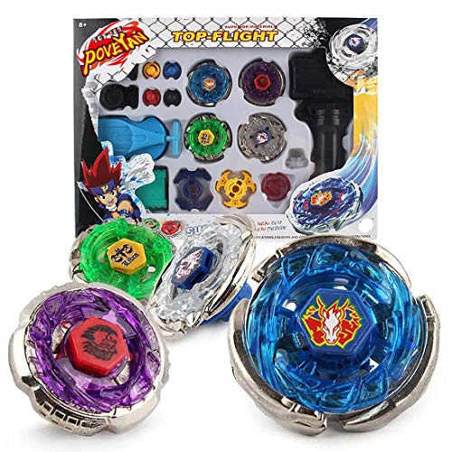 Poveyan Metal Master Fusion Storm Pegasus/Flame Libra/Earth Eagle/ Lightning L-Drago with 4D Launcher Grip Gyro Top Set