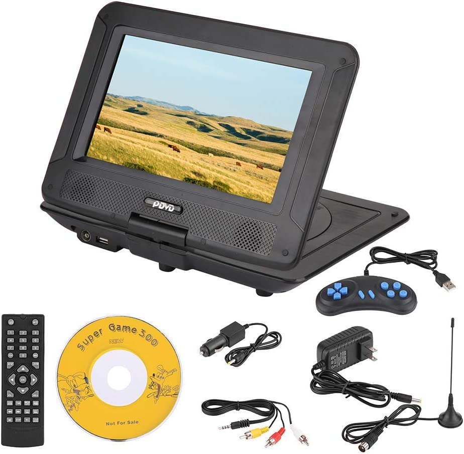 V BESTLIFE Portable DVD Player, 9.8in HD Screen Personal Video Players, Kid Game Console, Hundreds of TV Channels Long Work Time DVD Player