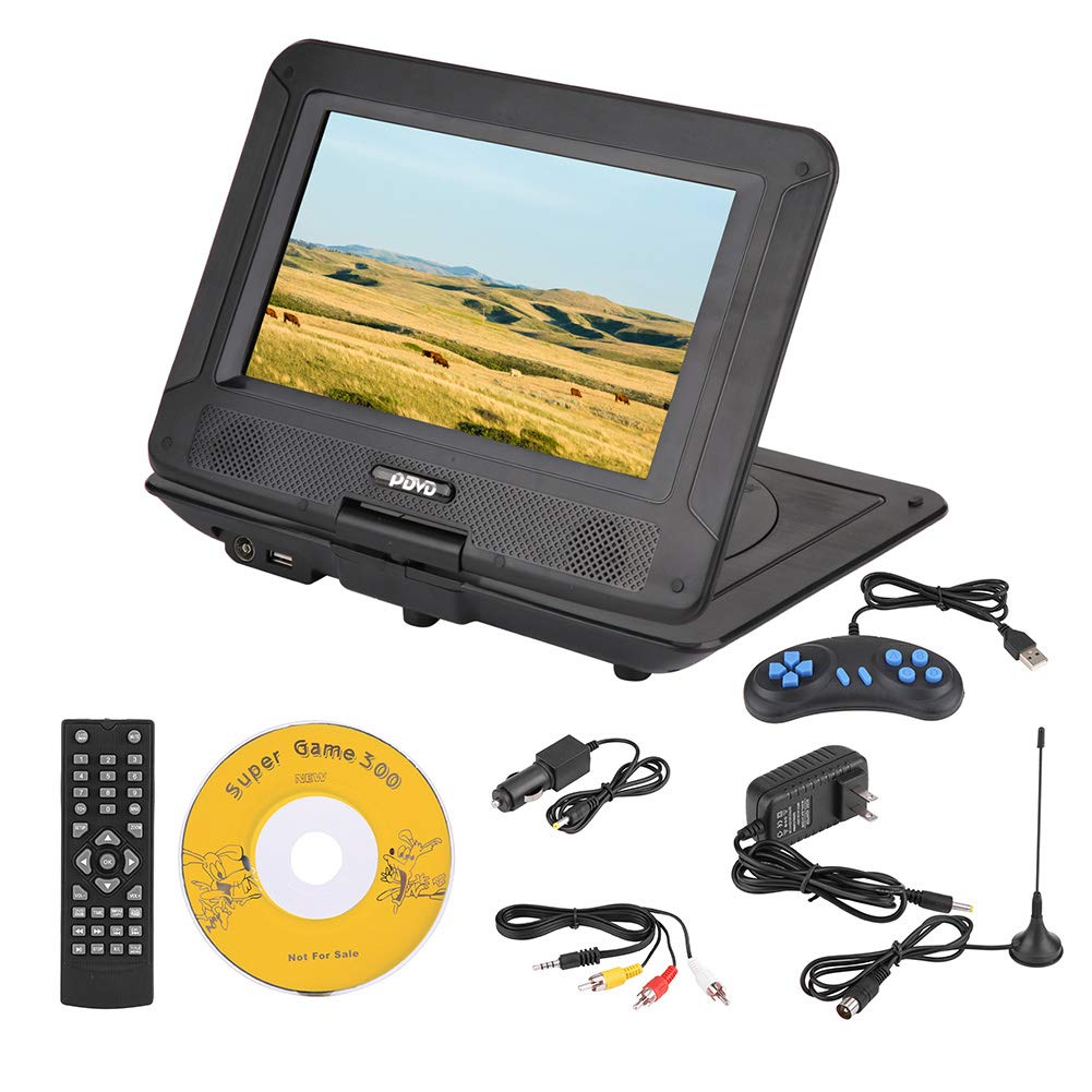 fosa Portable DVD Player 9.8in 3D Stereo Car DVD Player Game Playing Console Hundreds of TV Channels HD DVD Player, Supports U Disk, SD/MS/MMC Card with Car Charger & Power Adapter (Us Plug) by fosa