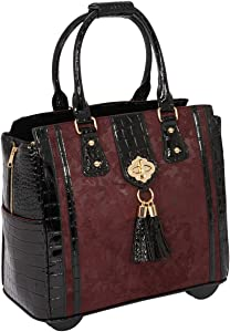 THE BELLA BORDEAUX Rolling Compatible with Computer iPad Tablet or Laptop Tote Carryall Bag