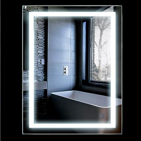 Espejos Bonitos Para Banos.Espejo De Bano Para Tocador Y Espejo Espejo De Bano Con Iluminacion Led Espejo De Pared Grande Espejo De Luz Espejo Bano 2 Tamanos 22w 500x700mm