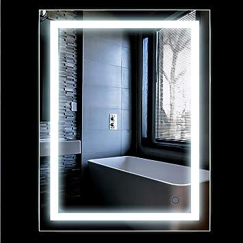 Specchio Luce LED con Illuminazione Interruttore per il Bagno Camera da  Letto 2 Dimensioni (500x700mm)