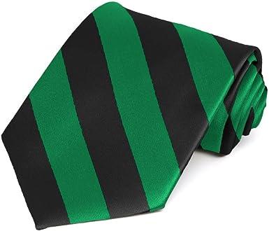 GREEN AND BLACK STRIPE SCHOOL TIE