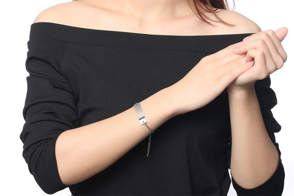 Personalized Bar Engraved Custom Free Engraving Medical Alert ID Bracelet for Women Girl,Adjustable by Mealguet Jewlery (Image #4)