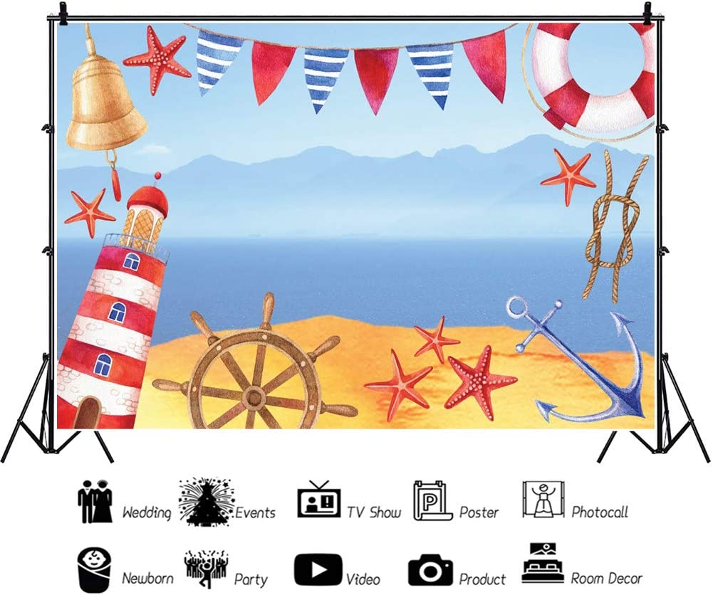 YEELE 10x8ft Nautical Theme Birthday Backdrop Anchor Lighthouse Steering Wheel and Lifebuoy Photography Background Baby Shower Kids Boys Portrait Summer Party Pictures Photobooth Props Wallpaper