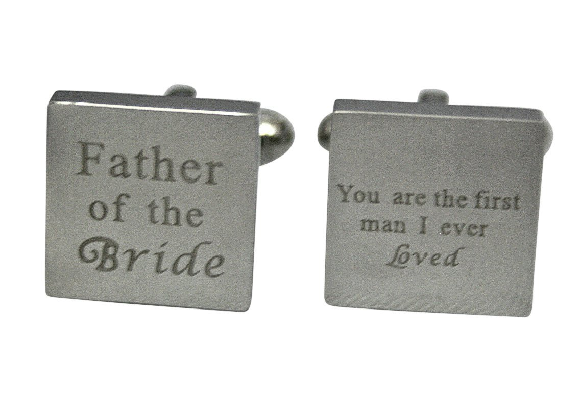 Father of the Bride Cufflinks Stainless Steel Gifts for Dad Wedding Cufflinks Gift Fathers Day Gift (Father of the Bride)