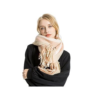 Femme Fille Couleur de Contraste rayée rayures Très Épais Écharpe Wrap  Châles Etole Glands Tassel 39d0bfd3b10