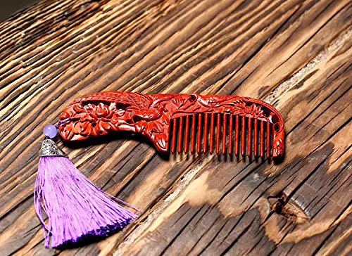 ZYJ Anti-Static Rosewood Comb, Wide-Tooth Wooden Comb Redwood with Handle Comb for Curly Wavy Straight Dry Wet Thick or Fine Hair