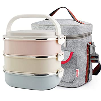 7ff7e11df6be Stainless Steel Lunch Box,Office Food Storage Boxes, Vacuum Insulated Lunch  Containers for Picnic (3-Tier) (Lunch Box Set)