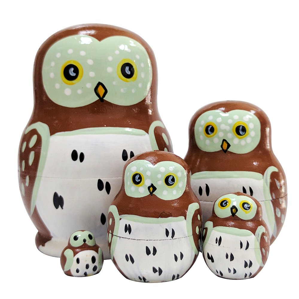 Set of 5 Cute Adorable Cartoon Wise Mini Owl Animal Handmade Russian Nesting Dolls Matryoshka for Kids Toy Children Birthday Christmas Gift