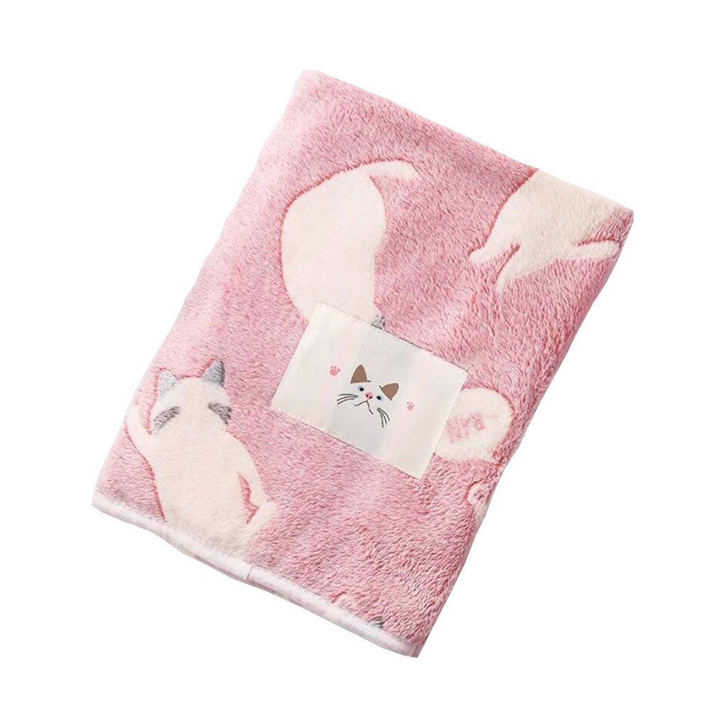 """LAGHCAT Pink Cat's Back Fleece Bed Blanket for Adult and Kids,Super Soft All Seasons Christmas Sleeping Throw Blankets,59""""x79"""""""