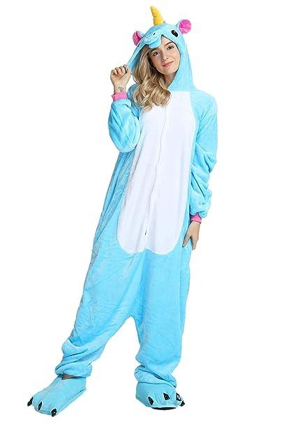 Kigurumi Pijamas Enteros Disfraz Unicornio Traje Animal Cosplay Adulto Onesie Ropa de Dormir Regalo para Carnaval