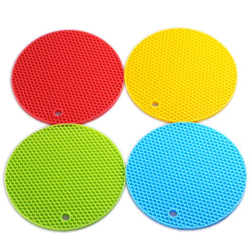 Color Jar (Silicone Trivets Smithcraft Round Mat Set of 4, 7