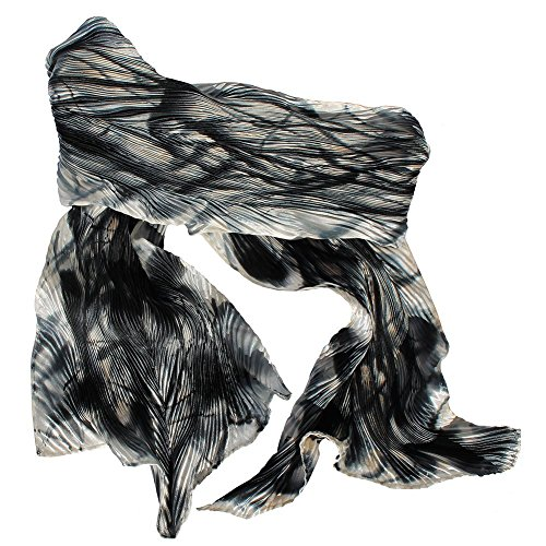 Black Grey, White and Beige Hand Painted Arashi Shibori Silk Scarf by ArtisanStreet