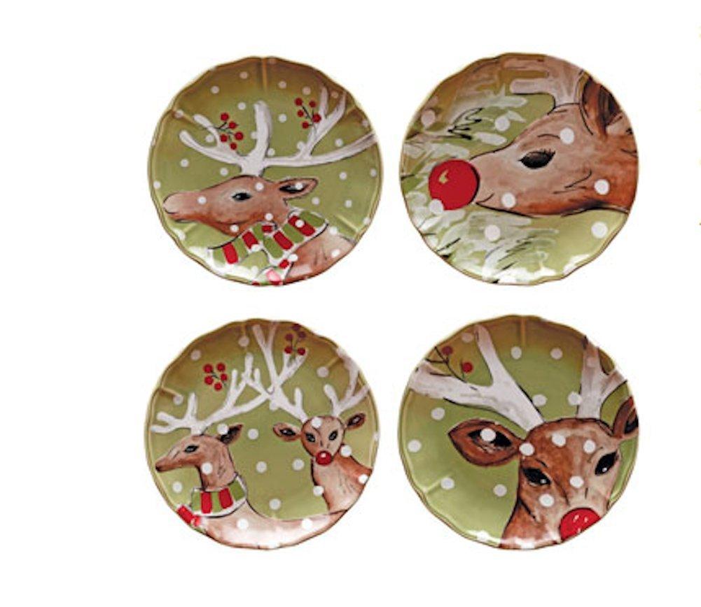 Casafina Deer Friends (デザート)サラダプレート( Set of 4 )グリーン   B01N45UDA9
