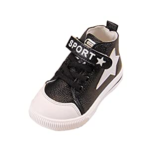 LINGGO Unisex Little Star Leather Mid-Top Casual Velcro Sneaker Shoes