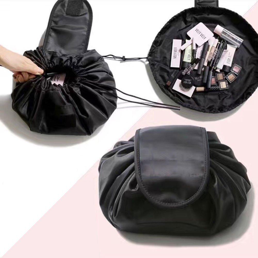 JT justime Lazy Kordelzug Make-up-Tasche tragbar Große Reise Kosmetik Tasche Reise Make-up Aufbewahrungstasche Organizer für Damen Mädchen (schwarz)