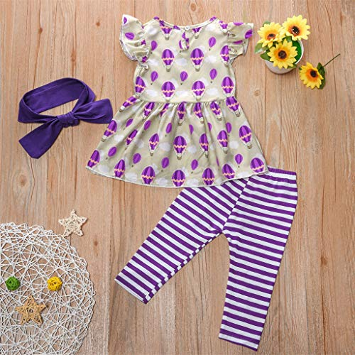 NUWFOR Newborn Kid Baby Girls Short Sleeve Print Tops+Stripe Pants Outfits Set(Purple,4-5 Years) by NUWFOR (Image #2)