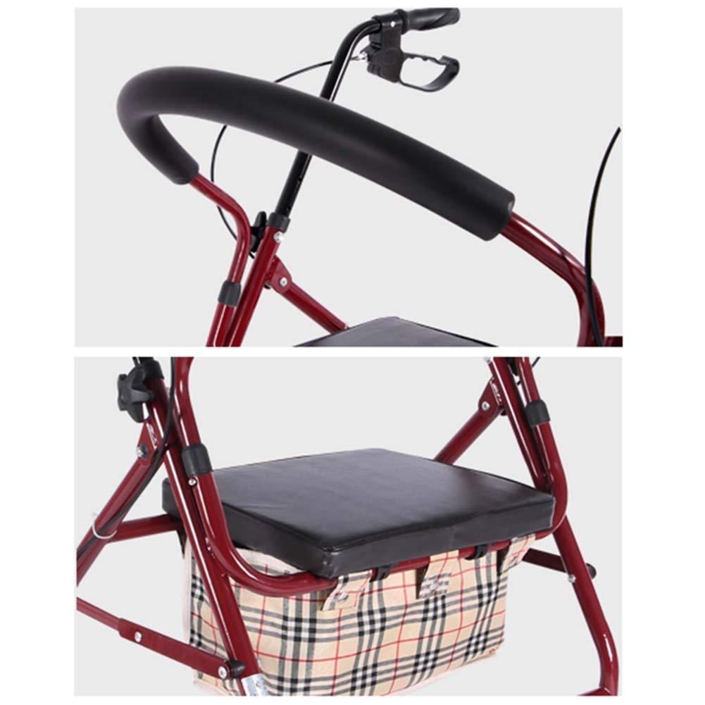 Amazon.com: Andador plegable de aluminio de 4 ruedas con ...