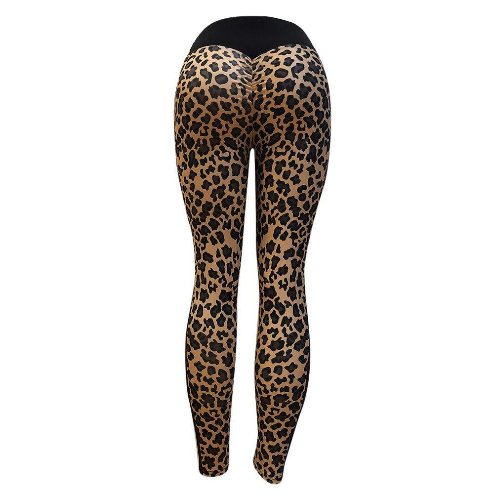 Zalanala Womens High Waist Yoga Pants Leopard Print Workout Leggings Sport Gym Running Trousers