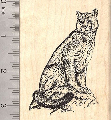 Cougar Rubber Stamp, Puma, Mountain Lion, Panther, or Catamount