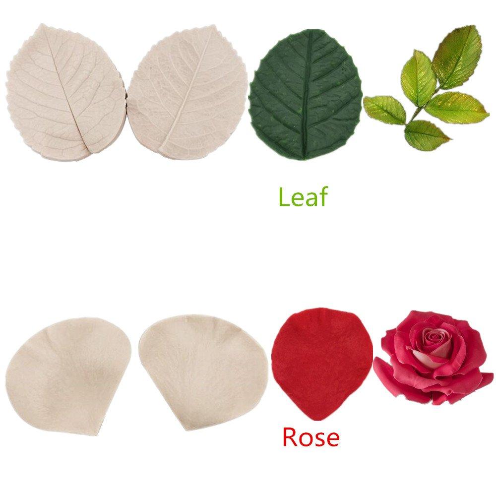 Molde de silicona con diseño de flor de pasta de azúcar - Molde de rosa, pasta de peonía, molde de flores, herramienta de decoración para tarta de azúcar ...