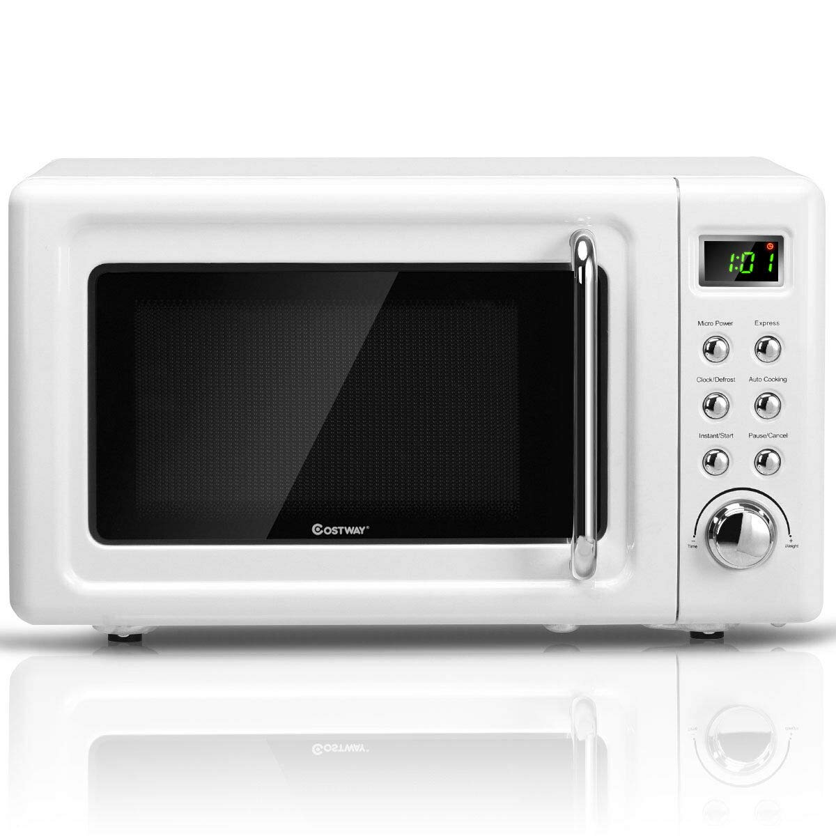 COSTWAY Retro Countertop Microwave Oven, 0.7Cu.ft, 700-Watt, Cold Rolled Steel Plate, 5 Micro Power, Defrost & Auto Cooking Function, Delayed Start Function, LED Display, Child Lock