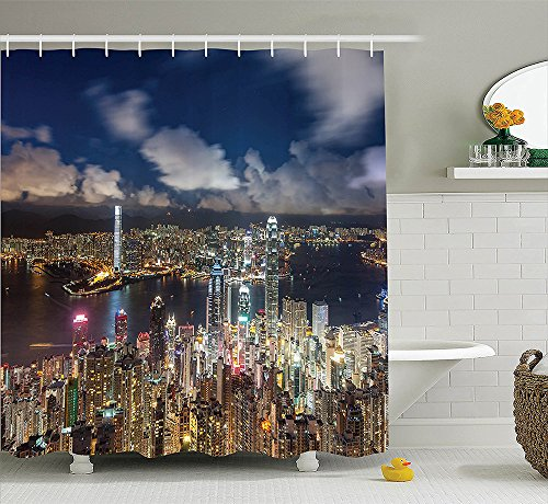[Apartment Decor Collection Utopia Islands Floating Future Cities Imaginary Fantasy Artwork Futuristic Home Polyester Fabric Bathroom Shower Curtain Set Yellow] (Nerd Costumes At Party City)
