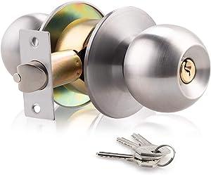 XIUDI Keyed DoorKnob with Lock and Key for Bedroom,Interior Privacy Door Knobs Satin Stainless Steel,Ball Door Handle Silver,Privacy/Bedroom (Satin Stainless Steel)