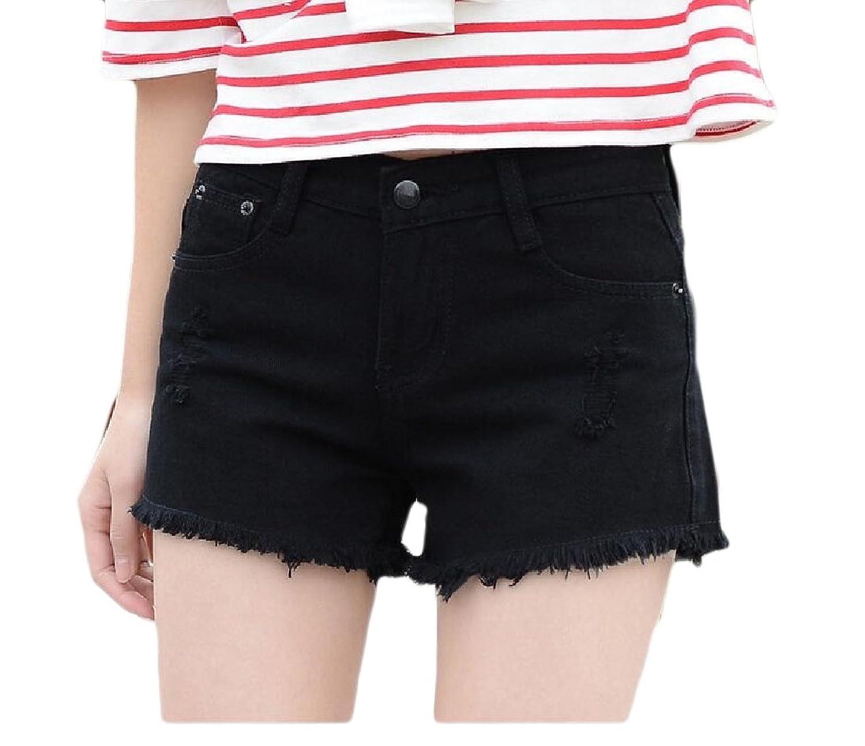 Buildup Women Assymetry Highwaist Loose Fit Holes Slim Fit Hot Shorts Jeans Black S supplier
