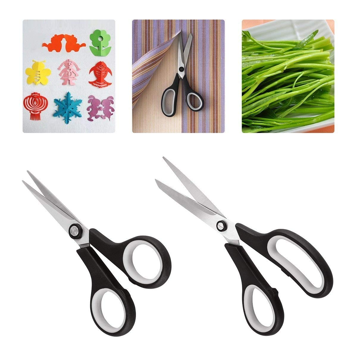Scissors Set, CUSIBOX 3-Pack Multipurpose Scissors for Office, School, Kitchen, Sewing, Art and Craft Activities, Durable Design, Comfort Grip and Razor Sharp Blades