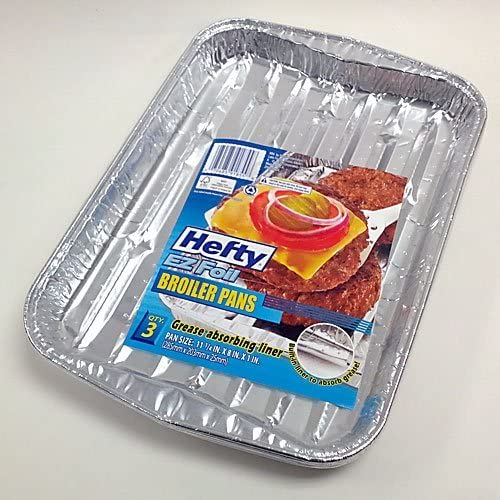 4, 11-1//4 x 8 x 1 Hefty EZ Foil Miracle Broiler Pans Grease Absorbing