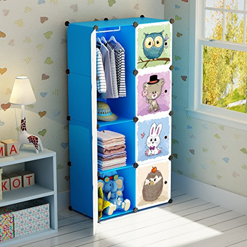 Blue Storage Armoire - MAGINELS Portable Kid Organizers and Cute Baby Storage Organizer Clothes Wardrobe Cube Closet MultiFuncation Bedroom Armoire Children Dresser Rack Blue Forest Animal 6 Cube &1 Hanging Section