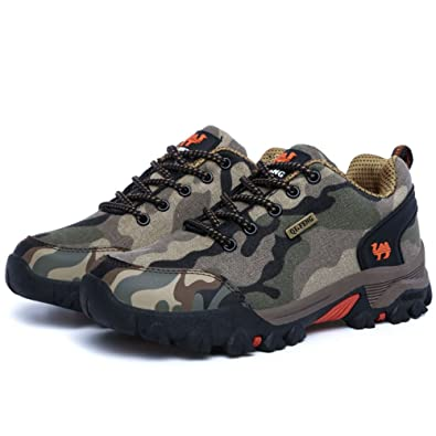 Men's Outdoor Canvas Waterproof Lightweight Breathable Camouflage Hiking Trail Shoes