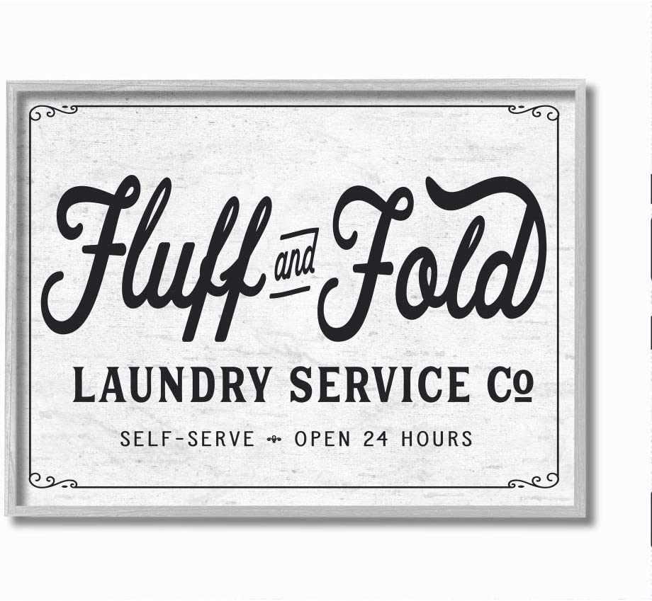 Stupell Industries Fluff and Fold Laundry Room Vintage Country Sign, Designed by Lettered and Lined Wall Art, 16 x 20, Grey Framed