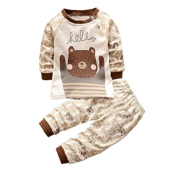 K-youth Ropa Bebé Niño Otoño Invierno Infantil Recien Nacido Camisas de Manga Larga Niños Ropa Conjunto Lindo Tops de Dibujos Animados Grizzly + ...