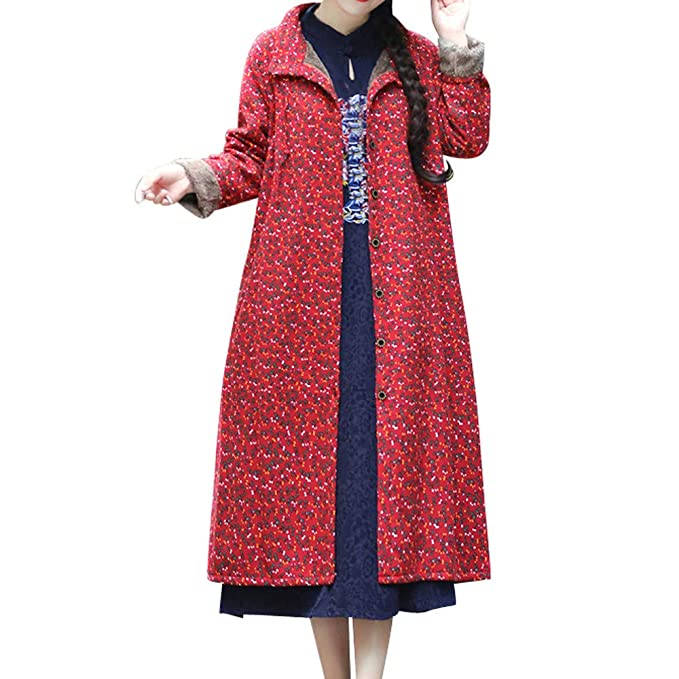 Linlink Moda Mujer Prendas de Abrigo algodón Lino Invierno cálido Abrigo Folk-impresión Personalizada y Personalizada Outcoat Chaqueta: Amazon.es: Ropa y ...