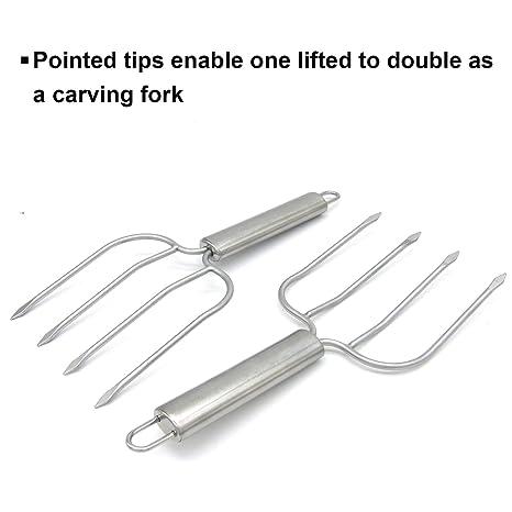 Amazon.com: Turquía elevador tenedores juego de 2 de acero ...