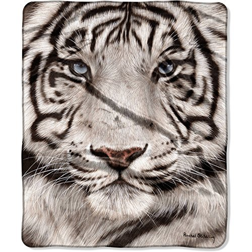 American Heritage Collection Royal Plush Raschel Throw With Artist Rachel Stribbling's ''White Face Tiger'' Animal Print Large 50'' x 60'' Soft Blanket. 100-Percent Polyester. By The Northwest Company.