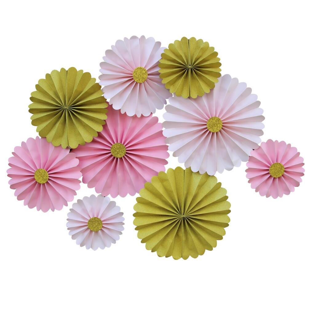 Mybbshower Pink Blush Gold Paper Rosettes Princess Birthday Party Hanging Decoration Pack of 9