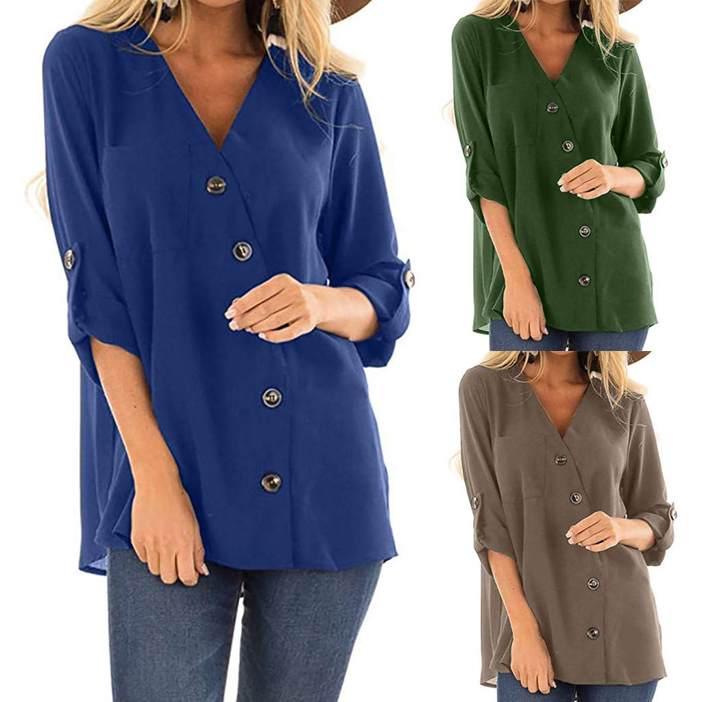 Sunhusing Womens Solid Color Button Buckle V-Neck Long Roll Sleeve Top Casual Loose Blouse Shirt at Amazon Womens Clothing store: