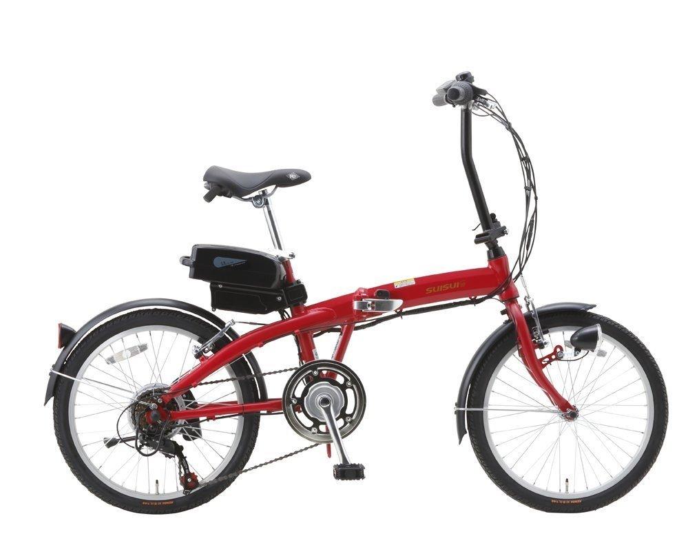 プレミアムモデル SUISUI 20インチ 折りたたみ 電動アシスト自転車 シマノ製外装6段式変速ギア アルミフレームボディ 軽量 BM-A30 レッド 赤 B075SXJBYB