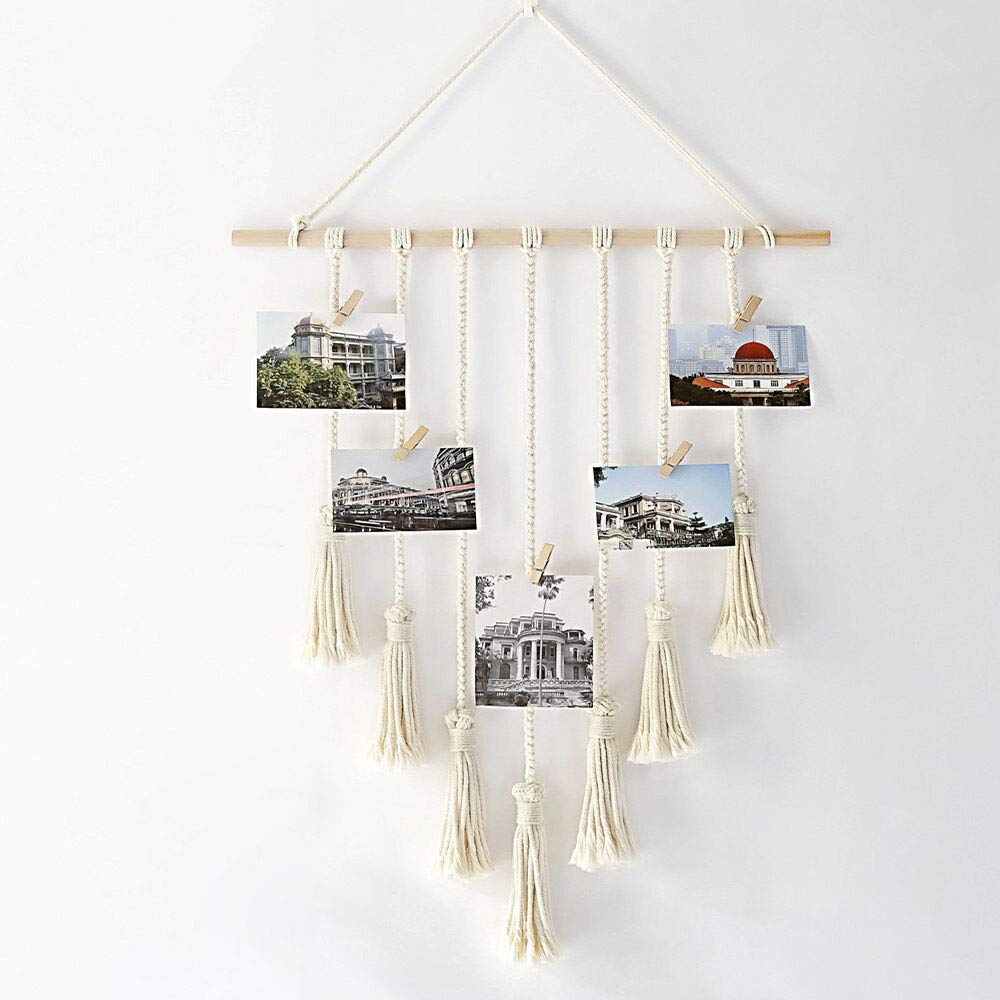 Alapaste Hanging Photo Display Pictures Organizer Macrame Wall Hanging Bohemian Décor Features 25 Wood Clips Bedroom Home Room
